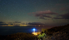Starry Lighthouse (free3yourmind) Tags: starry lighthouse stars night sky sea atlantic ocean clouds lights lapalma canary island tenerife view