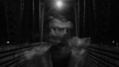 GHOSTS ON THE BRIDGE (seamusleehayes) Tags: strobe stroboscope stroboscopic outdoor flash first curtain long exposure slow shutter speed motion blur movement black white bw lowlight night canon rebel t5i grain noise lowkey winter cold bridge
