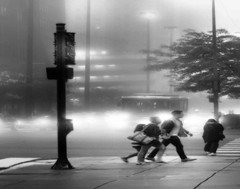 "Chicago, the ""windy city"". (Images by Walter Lesus) Tags: chicago illinois street people wind windy foggy cold"