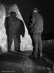 The Third Man, Stonehaven, Aberdeenshire. 2nd August 2015. (craigdouglassimpson) Tags: people silhouette scotland shadows aberdeenshire nightscenes stonehavenharbour