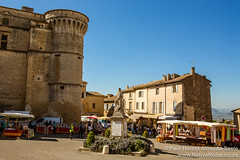 Market Day in Hilltop Town of Gordes, Provence, France