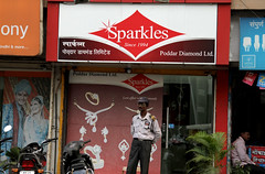 Sparkles (cowyeow) Tags: street city travel people india signs man sign shop retail sparkles asian town store funny asia candid indian humor guard billboard diamond jewellery sparkle odd shops maharashtra funnysign southasia amboli funnyindia