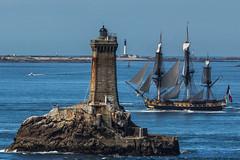 L'HERMIONE dans le Raz de Sein (Ronan Follic) Tags: sea lighthouse seascape bretagne breizh phare hermione bzh greement lhermione