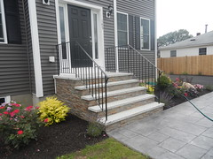 "7' WIde 5 Riser 48"" Platform with ShadowStone Cooper and Grey Granite Treads with Rails"