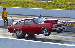 Vega back on the wheelie bars (Thumpr455) Tags: auto red chevrolet car race nikon automobile union southcarolina september chevy autoracing wheelstand vega dragracing wheelie 2015 d5500 worldcars wheeliebars unioncountydragway southeastgassers