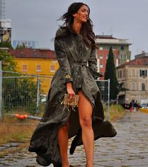 Sara at Gucci in the rainstorm (Paulix Black) Tags: street city sexy wet girl rain fashion 1 nicole donna cool model glamour sara day legs sandals milano stage moda style class rainstorm glam chic fashionista raincoat settembre settimana stylish classy fashionable rossetto giorno fashionist mfw streetstyle