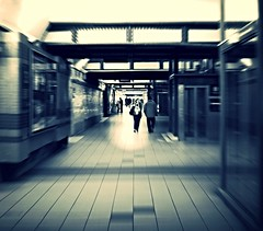 Tunnel station (Eyecatch-prod) Tags: sepia underground gare noiretblanc transport travail passage lorraine personne couloir metz matin moselle souterain