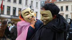 Million Mask March (Red Cathedral has left Osaka) Tags: brussels dc peace child mask father protest guyfawkes bruxelles anarchy vforvendetta anarchist anonymous brussel tenderness resist parenting demontrate gunpowderplot rememberrememberthefifthofnovember occupy eventcoverage aztektv millionmaskmarch mmm2015