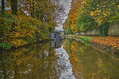 Slow down . . . (99RedKen) Tags: autumn trees reflection water leaves canal yorkshire barge skipton