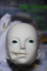 WIP Abigaelle (Mamzelle Follow) Tags: face abjd harlan disfigured abigaelle bjdmod eyesmodification larmoirededandan