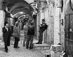 Old City Alley Patrol (Warriorwriter) Tags: night israel alley palestine westbank military muslim jerusalem religion middleeast corridor christian jewish conflict guns israeli patrol oldcity idf levant palestinian