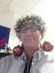 Christmas At Work (Roy Richard Llowarch) Tags: christmas xmas man silly men guy smile work fun happy tinsel laugh stupid mad daft crackers fareham 2015 christmascracker llowarch royllowarch royrichardllowarch