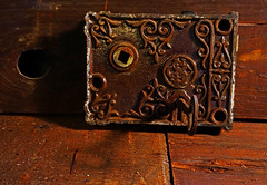 Locks & Key (Jae at Wits End) Tags: wood old light brown texture metal vintage rust key pattern moody shadows lock antique interior rustic rusty indoor wear oxidation weathered inside corrosion textured corroded solemn