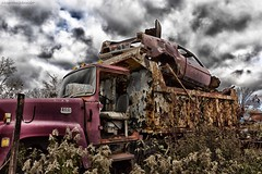 McLean's XXXIV (martinaschneider) Tags: old ontario fall abandoned car clouds truck rust rockwood wreckers mcleans