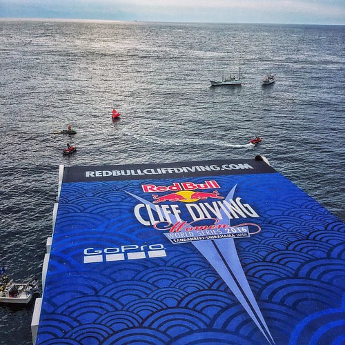 My office for the weekend. #redbullcliffdiving #レッドブルクリフダイビング
