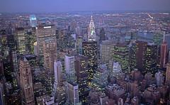 Looking East (tripletstate) Tags: architecture skyline dusk chryslerbuilding nyc