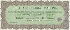 SOCIETA' FONDIARIA CISALPINA (scripofilia) Tags: 1922 azioni cisalpina fondiaria societ