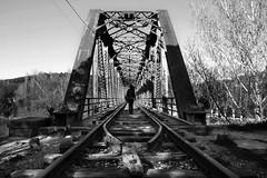 (cherco) Tags: alone aloner solitario solitary lonely train rail perspectiva perspective profundidad bridge puente vanishingpoint blackandwhite blancoynegro woman girl composition composicion canon chica canoneos5diii 5d abandonado abandoned