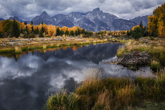 Ring of Gold (Brian Truono Photography) Tags: grandtetons hdr highdynamicrange nps nationalpark nationalparkservice schwabacherlanding snakeriver wyoming autumn beaver calm clouds dam fall geology grass green landscape mountains natural nature peak range river rock sky trees water yellow