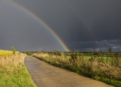 Somewhere under the rainbow (Gnome Girl!) Tags: rainbow surrey puttenham england uk greatbritain unitedkingdom autumn fall harvest field rain weather