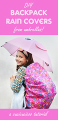 DIY backpack rain covers from umbrellas (cucicucicoo) Tags: umbrella umbrellas rain rainy rainyday backpack backpackcover raincover raincoat sewing sew sewingtutorial sewingforkids pink repurpose repurposed upcycle upcycled upcycledmaterial upcycledmaterials creativerecycling