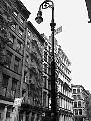 SoHo Streetlamp (Dan_DC) Tags: nyc newyorkcity manhattan soho urban street streetlamp fireescape bestviewedlarge cameraphone