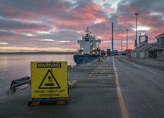 Warning (MBDGE) Tags: orkney kirkwall crane daroja stremline harbour scotland ship boats streamline line sunrise pier hatston sky lightroom canon70d clouds