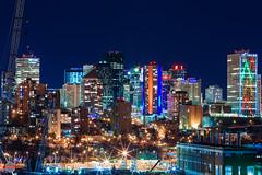 Downtown Edmonton (Rob Moses) Tags: edmonton alberta canada yeg skyline buildings building skyscraper apartment condos lights night sky longexposure photography photo photographer christmas urban city downtown ravine crane canon 5d 5dmarkiii 70200mm 70200l 70200 70200mmf4is zoom christmaslights