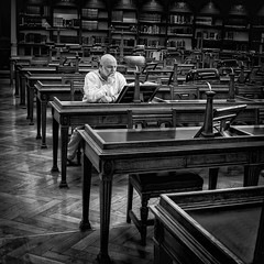 Lost in thought (adrian.sadlier) Tags: selfie mono nationallibraryofireland dublin ireland library readingroom concentration thought
