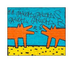 Street Art (SB ?), East London, England. (Joseph O'Malley64) Tags: sb keithharingcopy streetart urbanart graffiti eastlondon eastend london england uk britain british greatbritain art artist artistry artwork tribute mural muralist brickwork pointing bricksmortar urban urbanlandscape aerosol cans spray paint