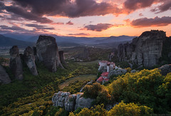 Dreams of Meteora (blame_the_monkey) Tags: bluehour country fujifilm greece meteora monastery mountains sunset valley xt2