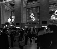 Grand Central Terminal - the clock and some romance, early evening (peripathetic) Tags: 2016 5d 5dmk3 5dmkiii america canoneos5dmk3 nyc newyorkcity us usa unitedstates canon clock grandcentral grandcentralstation grandcentralterminal informationdesk kiss mainconcourse manhattan manhattanisland newyork romance