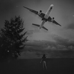 137/365 Send Off (itskatrinayu) Tags: surrealphotography airplane self portrait selfportrait 365 365project blackandwhite