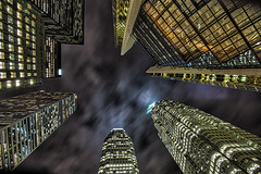 Things are Looking Up... (Alex Bruce Photo) Tags: downtowntoronto toronto skyscrapers evening night buildings lights lookingup pov perspective