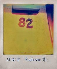 82 (web.werkraum) Tags: ks 2012 berlintreptowkpenick berlin polaroid 82 1111 polaroidsammlung polaroidserie berlinerknstlerin karinsakrowski rudowerstr street tagesnotiz art sammlung color deutschland detail europa eingang farbe germany nummer nahaufnahme omot original typography typographie typo urban vertrautheit verortung webwerkraum wegzeichen zahl ziffern