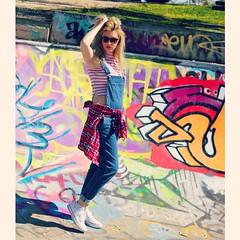 Denim overall look from @sportsgirl  #overalls #denim #ootd #skatepark #converse #sportsgirl #colour #80s #90s #streetfashion #fashion #lookoftheday #picoftheday #sascharaeburn #sneakers (Sascha Raeburn) Tags: square nashville squareformat iphoneography instagramapp uploaded:by=instagram