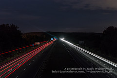 M5 by night A (Jacek Wojnarowski Photography) Tags: road uk nightphotography summer england motion blur horizontal clouds landscape lights europe darkness motorway outdoor transport somerset front transportation expressway superhighway 6x4