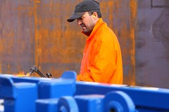 Work (Martin abz) Tags: orange industry yard gas flame torch cap oil overalls worker