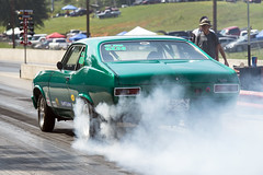 Chevy Nova burnout (Thumpr455) Tags: auto green chevrolet sc car race speed drag nikon automobile action smoke southcarolina august racing chevy burnout d800 greer 2015 racingauto worldcars greerdragway afnikkor70200mmf28vrii classicgearjammers