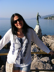 Opatija, Adriatic Coast, Croatia (seanfderry-studenna) Tags: road trip summer woman white holiday girl beauty sunglasses smiling female buildings pose dark hair happy coast town seaside girlfriend long village married top gorgeous posing croatia august visit tourist tourists jeans coastal wife destination shorts nina opatija adriatic croatian hrvatska fiancee 2015