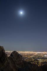 The moon, the valley and Piestewa Peak (raptoralex) Tags: longexposure arizona moon mountain phoenix night squawpeak piestewapeak valleyofthesun