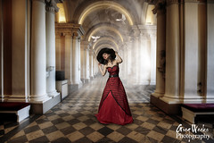 Hermitage Hallway Lady & Doves (Greg Weeks Photography) Tags: light red woman beautiful hat composite museum stpetersburg tile hall nikon dress floor russia smoke great rays hermitage pillars hdr doves capitals joelgrimes 800d gregweeksphotography