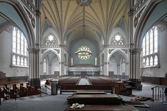 Once A Saint, Now A Sinner (earthmagnified) Tags: urban abandoned church glass choir peeling paint cross cathedral decay exploring explorer gothic decoration chapel ceiling stained altar organ nave angels exploration fresco pews pulpit abandonment decaying ue urbex transept