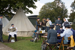 RE enactment dispersal camp 1940 (Beth Hartle Photographs2013) Tags: duxford reenactment raf scramble dispersal homeguard wraf middlewallop 609sqndispersal 1940battleofbritainairshow airtrafficcontrolcaravan wrafdriver 1937vauxhallcar