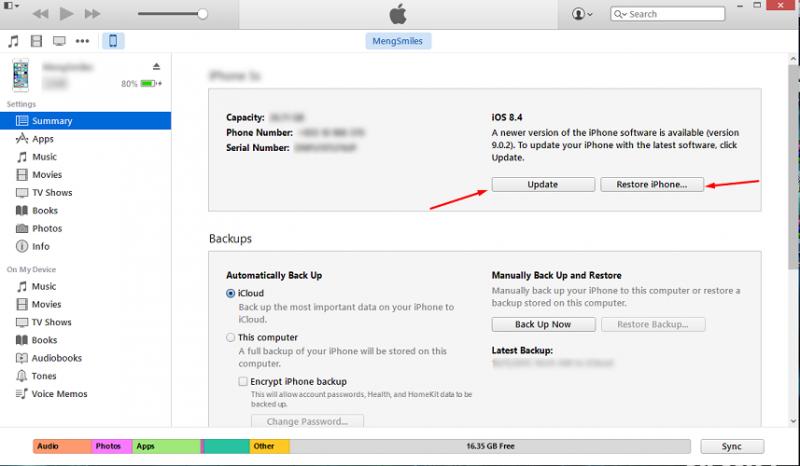 ភាពខុសគ្នារវាងការ Update និង Restore តាម iTunes