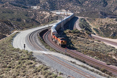 Autoracks down the hill (ycsfsoya) Tags: rail road railway choo railroad train track loco motive locomotive power unit diesel electric lashup freight consist row engine chooch transport california bnsf cajon pass silverwood auto rack dash944cw subdivision