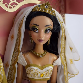 Limited Edition Aladdin and Jasmine 17'' Wedding Doll Set - Disney Store Purchase - Deboxing - Attached to Backing - Portrait Left Front View of Jasmine #1