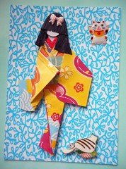 ATC1299 - Contemplating the leisurely life of a cat (tengds) Tags: flowers red white green yellow atc artisttradingcard cat asian japanese card geisha kimono obi origamipaper artcard papercraft japanesepaper washi ningyo handmadecard chiyogami asiandoll designprint yuzenwashi japanesepaperdoll origamidoll kimonodoll tengds