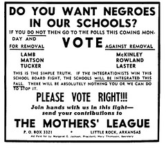 A flyer produced by The Mother's League of Central High during the Little Rock Crisis