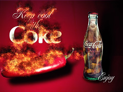 02468743-72-Keep Cool With Coke-1 (Jim would like to get on Explore this year) Tags: red ice advertising poster fire chili cocacola cokebottles